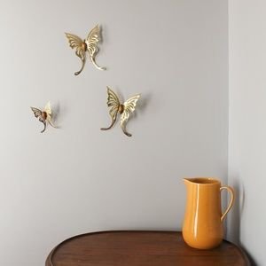 vtg set of 3 mid century modern butterfly wall art